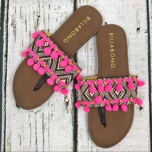 Billabong Pom Pom Boho Flip Flop Sandals Sz 7